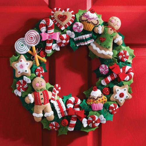 Bucilla Felt Applique Kit - Cookies & Candy Wreath