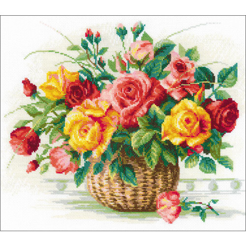 RIOLIS Counted Cross Stitch Kit - Basket W/Roses