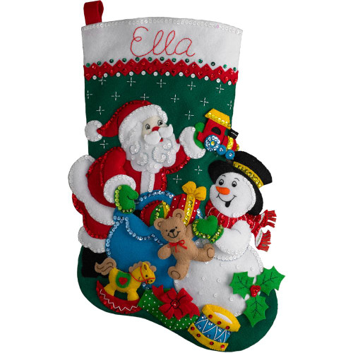 Bucilla Felt Stocking Applique Kit - Santa & Snowman