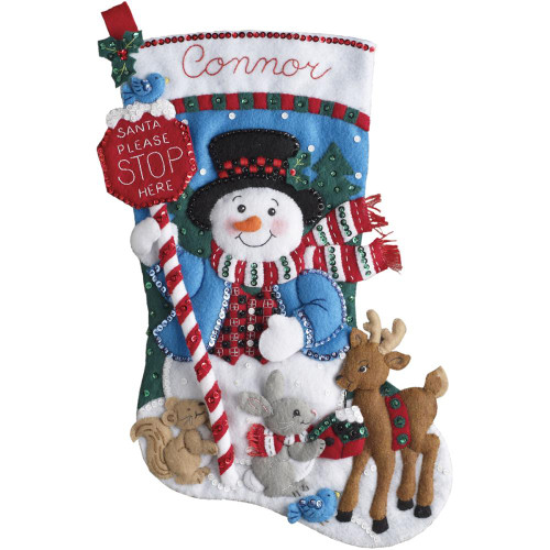 Bucilla Felt Stocking Applique Kit - Santa Stops Here