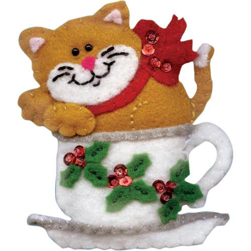 Design Works Teacup Cat Felt Ornament Applique Kit