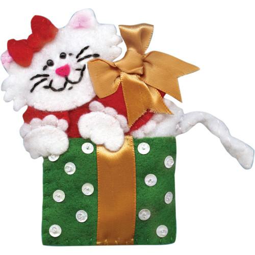 Design Works Cat In Box Felt Ornament Applique Kit