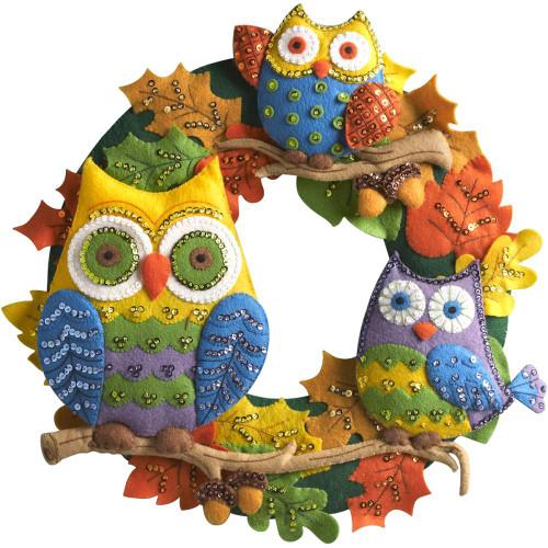 Bucilla Felt Wreath Applique Kit - Owls