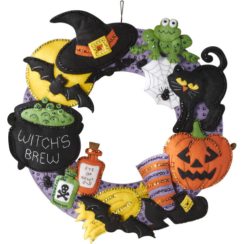 Bucilla Felt Wreath Applique Kit - Witch's Brew