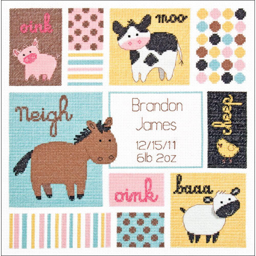 Dimensions Counted Cross Stitch Kit - Barn Babies Birth Record