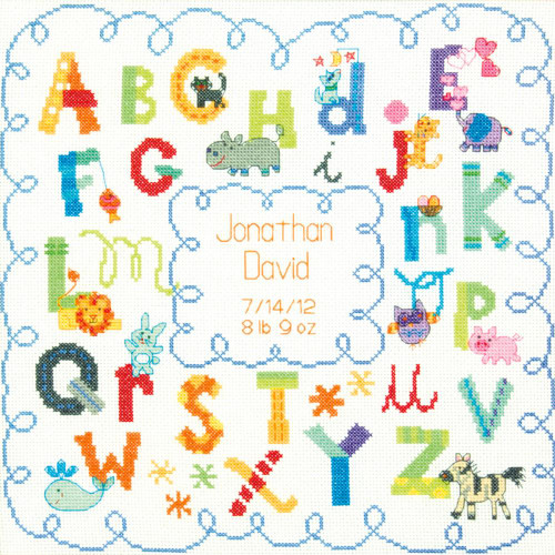 Dimensions Counted Cross Stitch Kit - Alphabet Birth Record