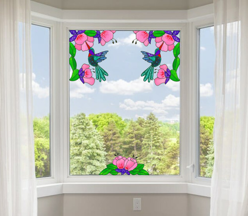 Faux Stained Glass Hummingbird Corner Window Cling Set