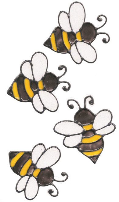 Faux Stained Glass Bumble Bee Window Clings (4)