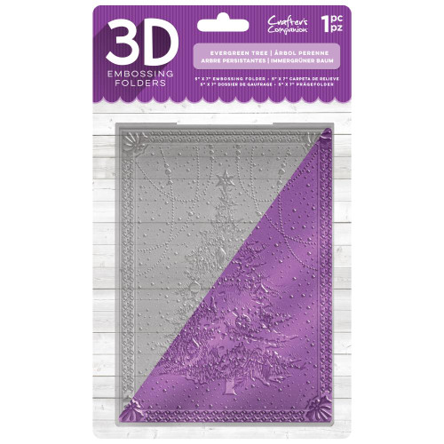 """Crafter's Companion Evergreen Tree 3D Embossing Folder 5""""X7"""""""