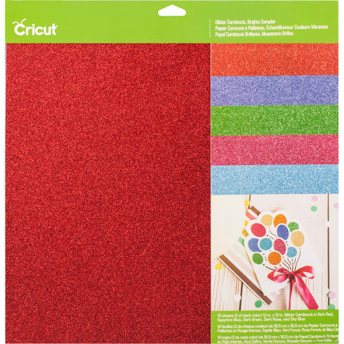 "Cricut Brights Glitter Cardstock Sampler 12""X12"" 10/Pkg"