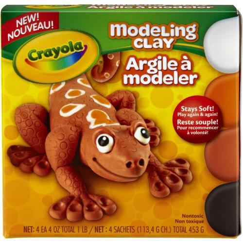Crayola Modeling Clay - White, Black, Orange & Brown