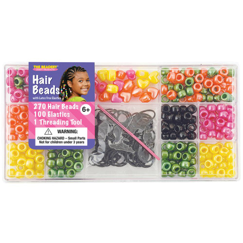 Large Hair Bead Box Kit - Bright Pearl