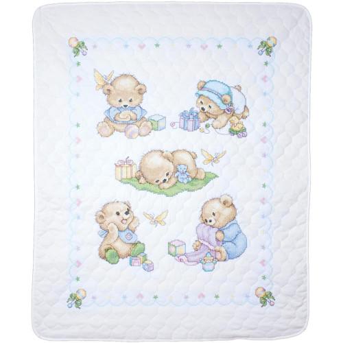 Tobin Stamped Quilt Cross Stitch Kit - Baby Bears