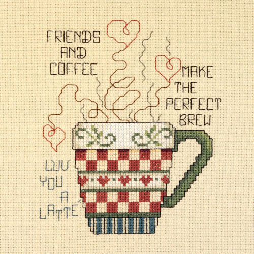 Janlynn Counted Cross Stitch Kit - Friends & Coffee