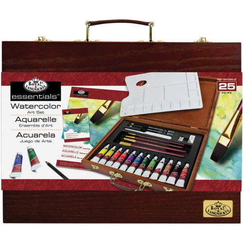 essentials™ Wooden Box Art Set - Watercolor Painting