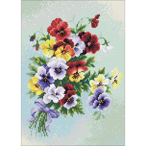 RIOLIS Diamond Mosaic Embroidery Kit - Pansy Medley