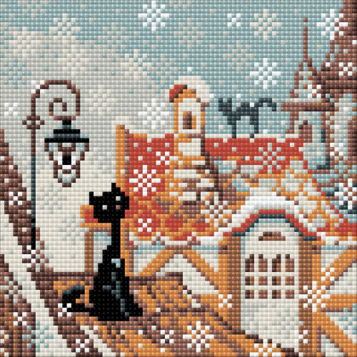 RIOLIS Diamond Mosaic Embroidery Kit - City & Cats Winter