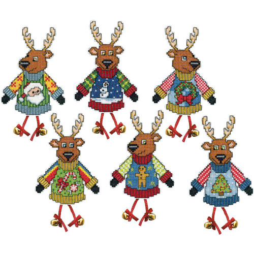 Plastic Canvas Ornament Kit  - Ugly Sweater Reindeer