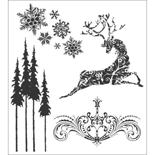 Tim Holtz Cling Stamps - Reindeer Flight