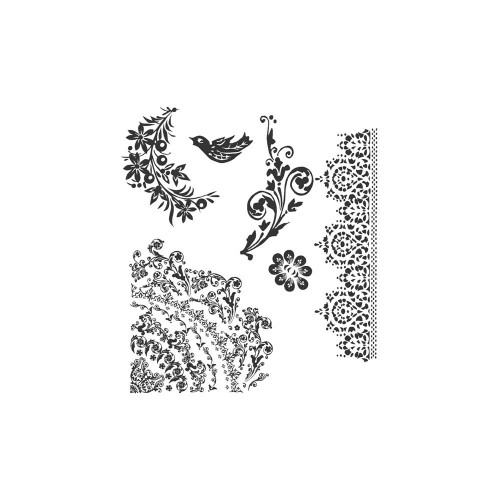 Tim Holtz Cling Stamps - Floral Tattoo