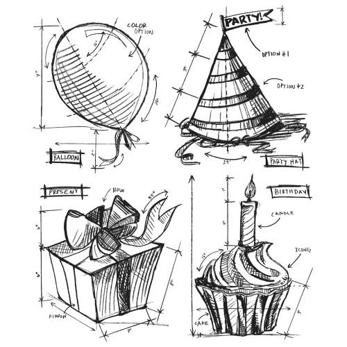 Tim Holtz Cling Stamps - Birthday Blueprint