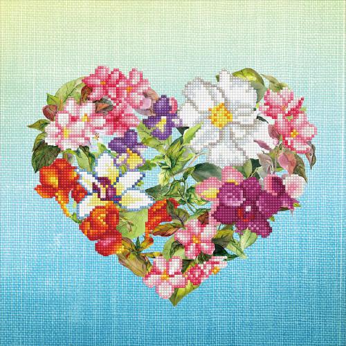 Diamond Embroidery Facet Art Kit - Flower Heart