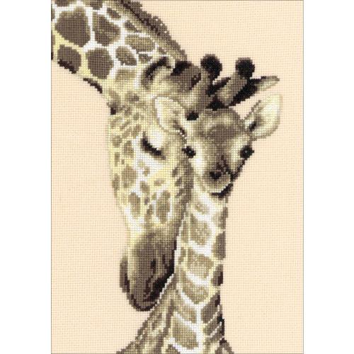 Giraffe Family On Aida Counted Cross Stitch Kit