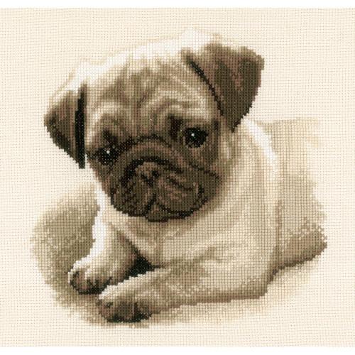 Pug Dog On Aida Counted Cross Stitch Kit