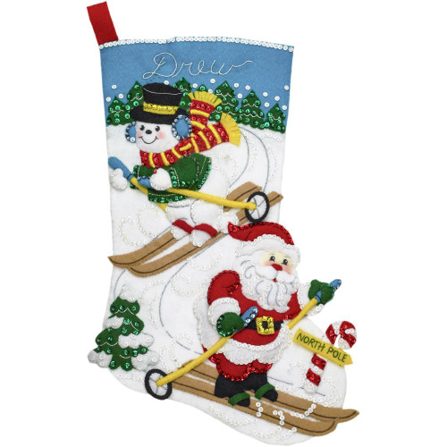 Bucilla Downhill Skiers Felt Stocking Applique Kit