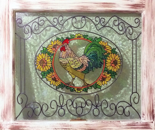 Faux Stained Glass Rooster Vintage Window