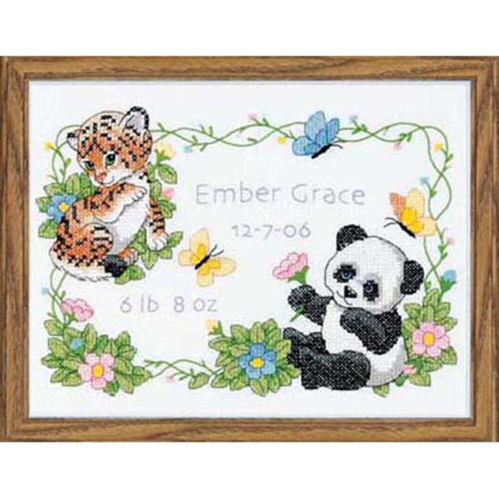 Dimensions Stamped Cross Stitch Kit - Baby Animals Birth Record