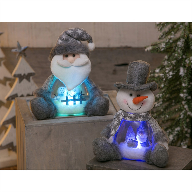 Fabric Body LED Ball, Santa or Snowman