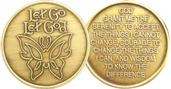 AA Bronze Medallion Coin - Let Go Let God Butterfly