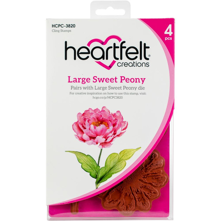 Heartfelt Creations Cling Rubber Stamp Set - Large Sweet Peony