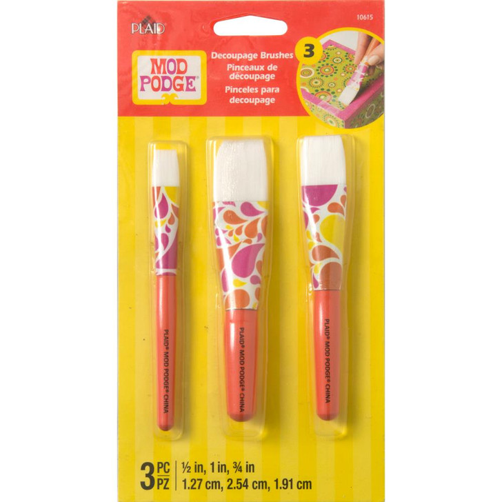 Mod Podge Short Handle Brush Set 3/Pkg