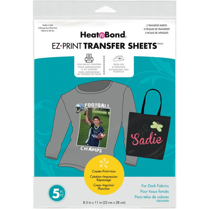 Thermoweb HeatnBond EZ Print Transfer Sheets - Dark Fabrics