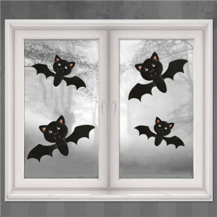 Cute Bats Halloween Window Clings 4/Pkg