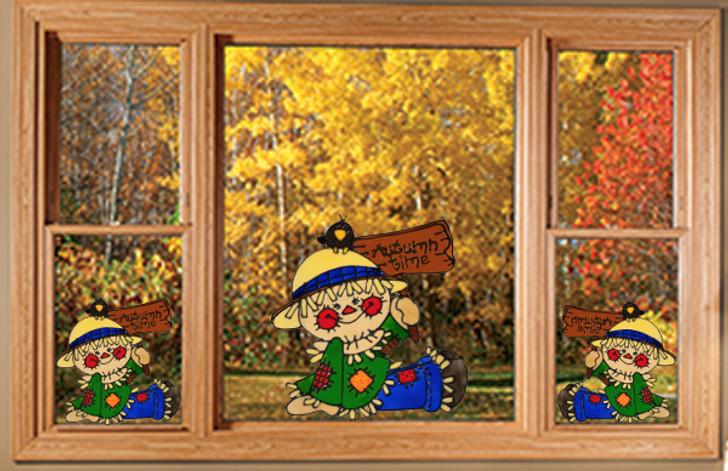 Autumn Time Scarecrow Window Cling