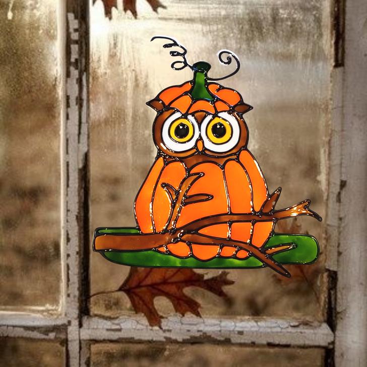 Pumpkin Owl Halloween Window Cling