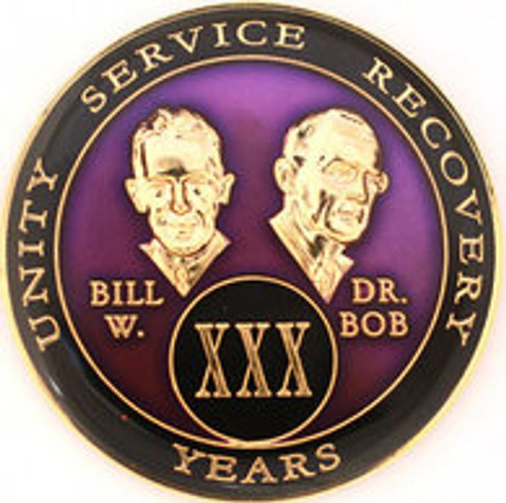 AA Tri-Plate Bill & Bob Year Coin - Purple