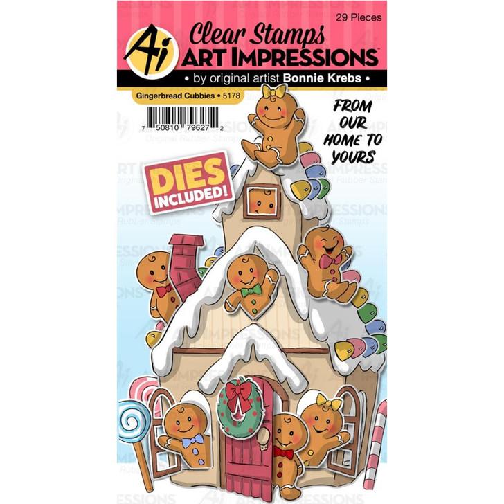 Art Impressions Cubbies Clear Stamp & Die Set - Gingerbread