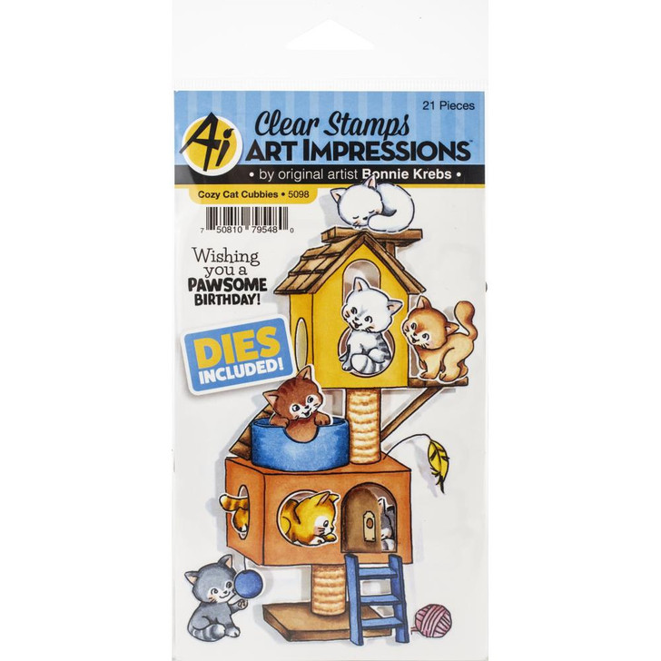 Art Impressions Cubbies Clear Stamp & Die Set - Cozy Cat