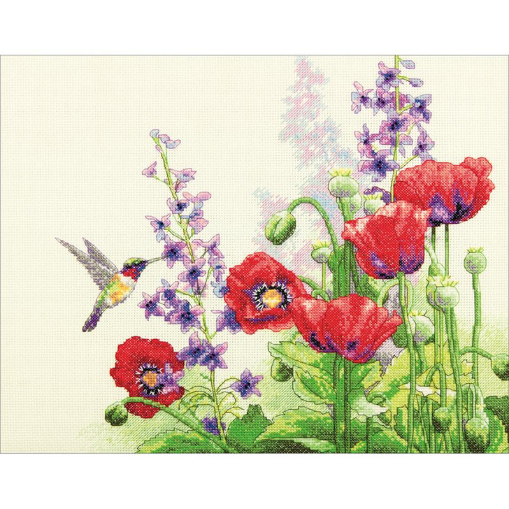 Dimensions Counted Cross Stitch - Hummingbird & Poppies
