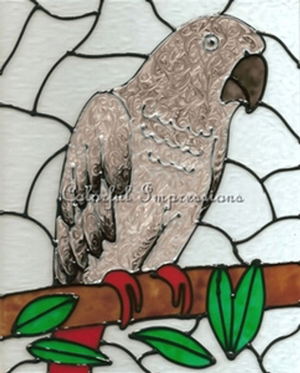 Faux Stained Glass African Grey Suncatcher