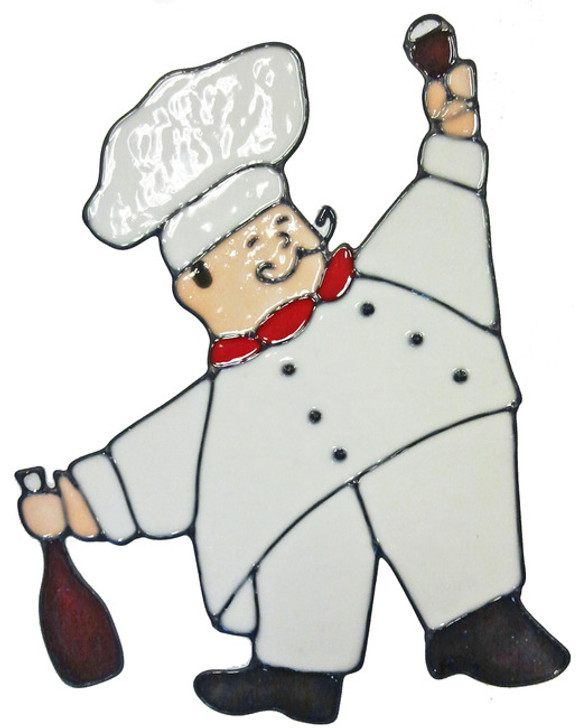 Fat Chef With Bottle Window Cling