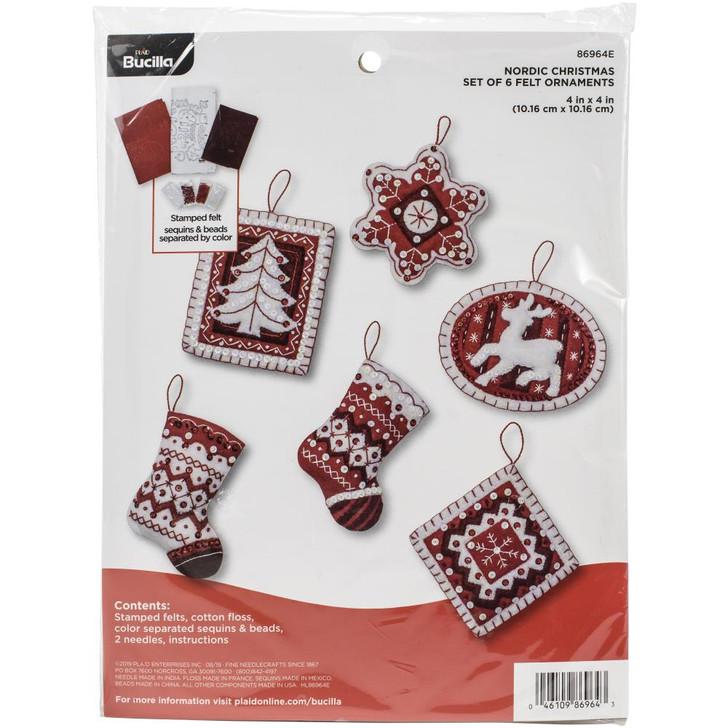 Bucilla Nordic Christmas Felt Applique Ornaments Kit