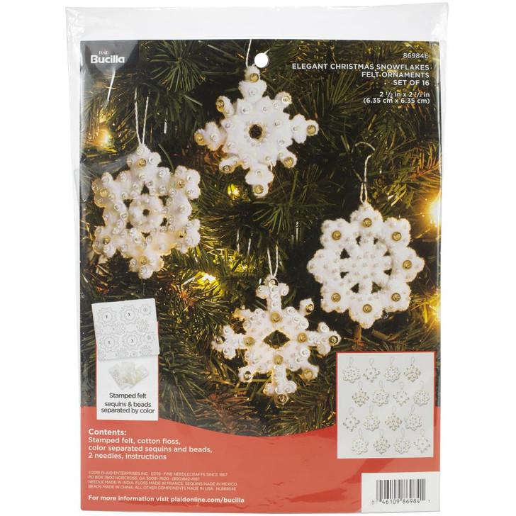 Bucilla Elegant Christmas Snowflakes Felt Applique Ornaments Kit