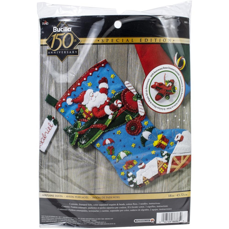 Bucilla Airplane Santa Felt Applique Stocking Kit