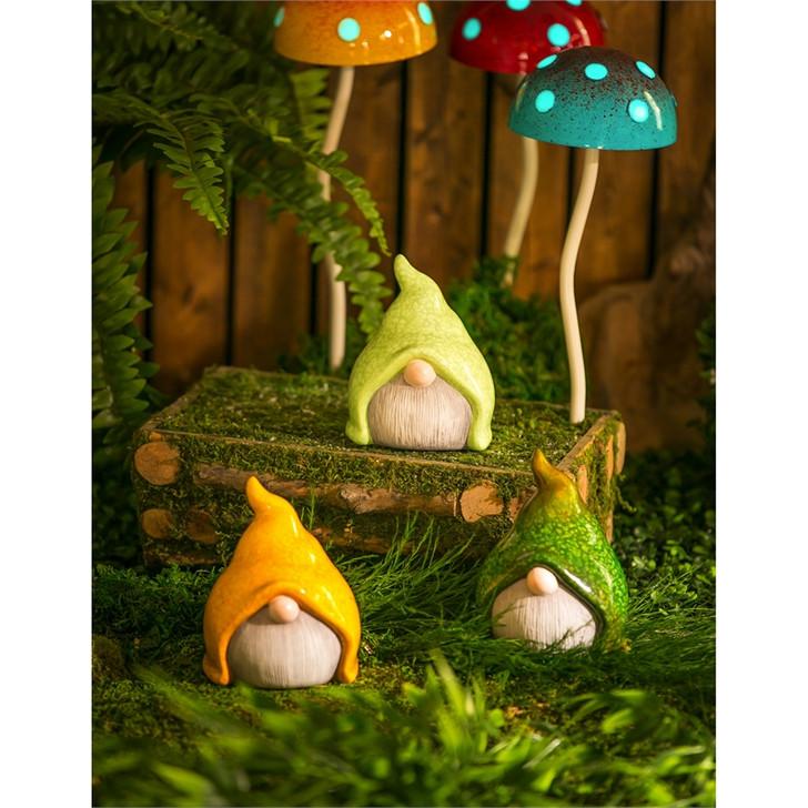 """Ceramic Small Gnome Garden Statuary, 3 Asst. 5""""H"""