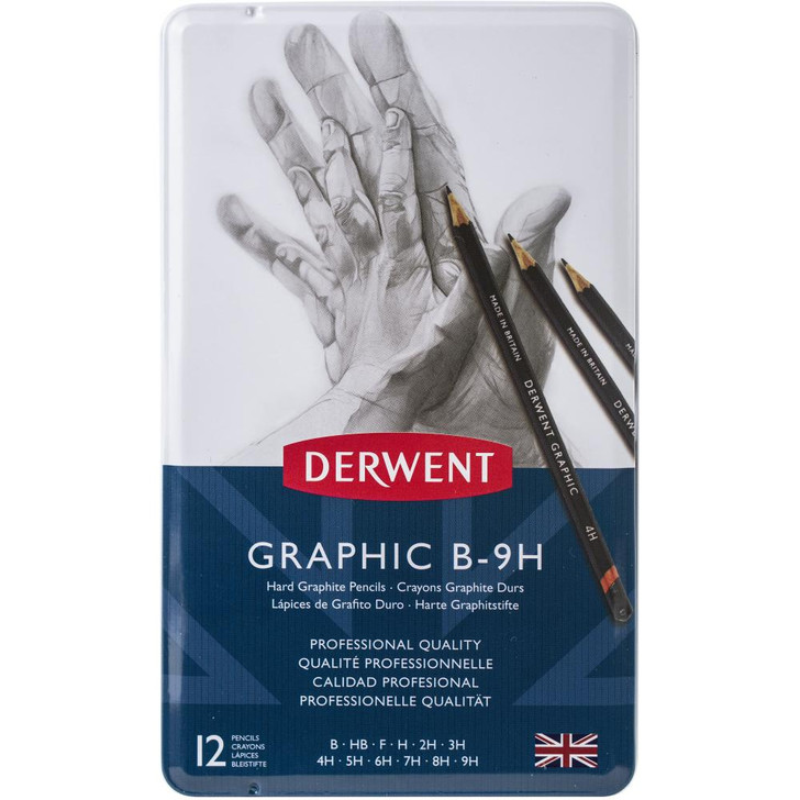 Derwent Hard Graphic Pencils W/Tin 12/Pkg